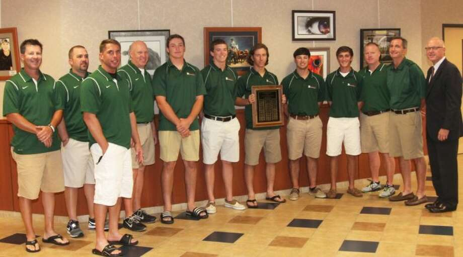 The 2013 UIL 5A Baseball State Champions of The Woodlands High School were honored Tuesday night at the CISD Board of Trustees meeting. Members of the team are Chris Andritsos, Kolbi Brown, Ryan Burnett, Max Conway, Alex Dunlap, Zachary Dunn, Matthew Franques, Blaine Gillespie, Ben Gooch, Alex Hale, Carter Hope, Griffin Jones, Brandon Manger, Braxton Markle, Connor Marshall, Brandon Miles, Joshua Pruitt, Alex Rippee, Casey Schneider, Trey Senules, Josh Shaw, Luke Sherley, Stephen Solberg, Bret Tirlia, Jesus Villarreal, Colton Wardle, Charlie Warren and Hillin Warren. The coaching staff includes Head Coach Ron Eastman and his assistant coaches, Shane Graves, Chris Harden, Bryan Hill, Jeff Lilley, Chad Rozelle and Barry Wilson.