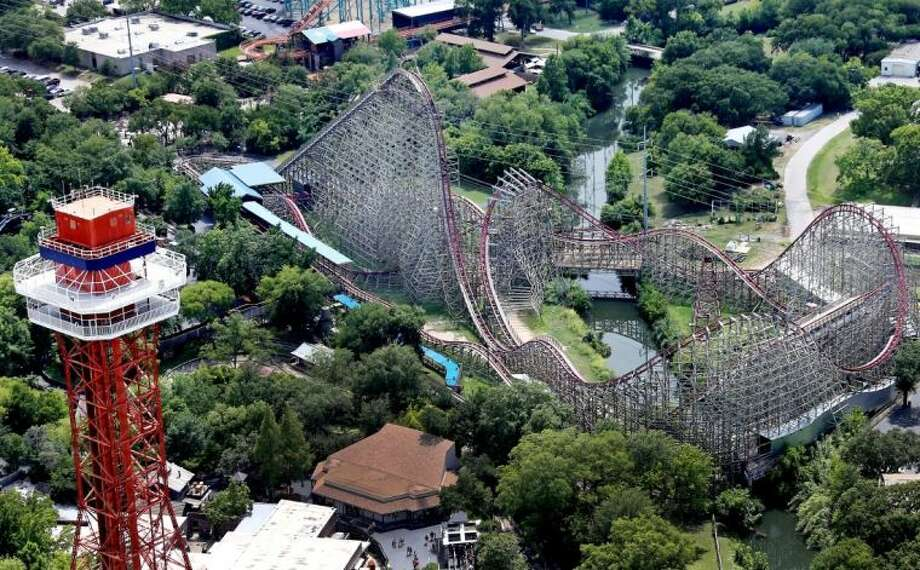 This aerial photo shows the Texas Giant roller coaster at Six Flags Over Texas where a woman fell to her death Saturday in Arlington.