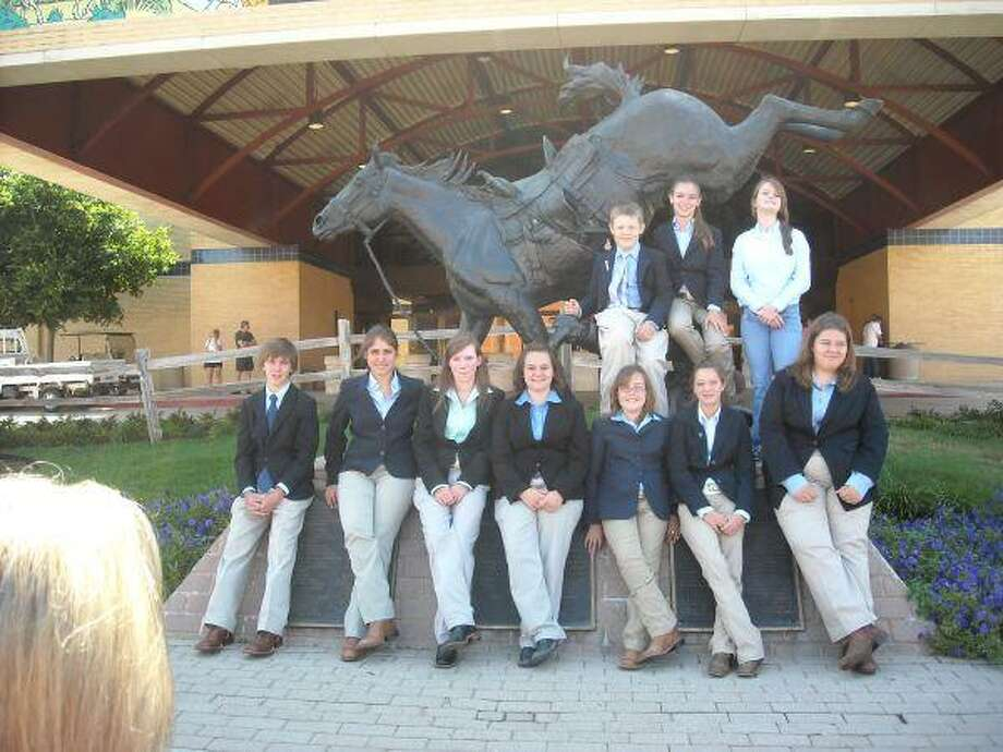 Montgomery County Horsemanship 4H went to Fort Worth to judge the 2010 AJPHA World Show. Third Place Overall Junior Team: Jayli Garrison, Victoria Guidry, Todd Wellmann, Shelby Wilson; first place Jr. Team: Reasons; second place Jr. Team: Halter; third place Jr. Team: Performance; Jayli Garrison: Reserve High Point Jr. Individual Overall; Shelby Wilson: Fourth place Jr. Individual Overall; Reserve High Point Senior Team Overall: Brooke Alger, Connor Evans, Abbey Jacks, Kasey Landrum. Brooke Alger - High Point Sr. Individual Overall; Abbey Jacks: Fifth place Sr. Individual Overall. Pictured: Connor Evans, Abbey Jacks, Brooke Alger, Kasey Landrum, Shelby Wilson, Jayli Garrison, Victoria Guidry, Todd Wellmann, Grace Evens, Lauren Spivey.