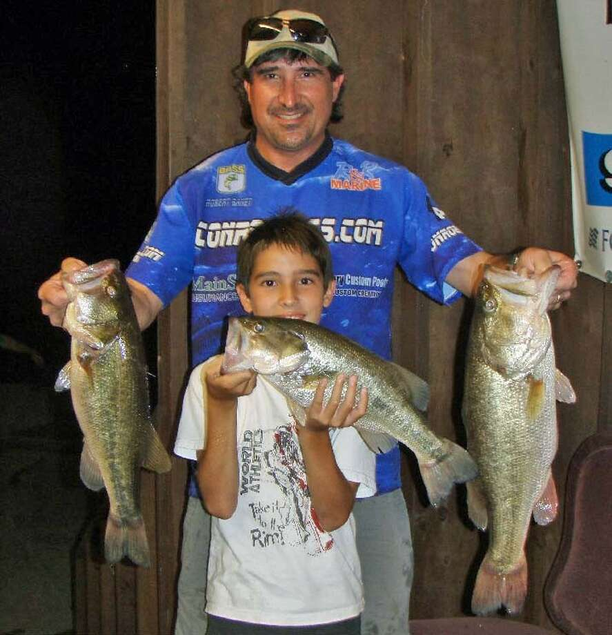 Father and son team Robert Baney and Robert Baney Jr. won the Conroe Bass Tuesday Night Tournament with a stringer weight of 12.25 pounds.