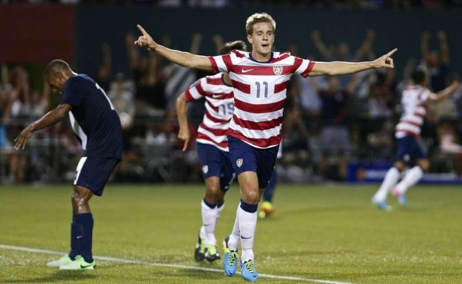 Stuart Holden celebrates his second-half goal against Belize in the CONCACAF Gold Cup on July 9 at Jeld-Wen Field in Portland, Ore. Photo: Thomas Boyd