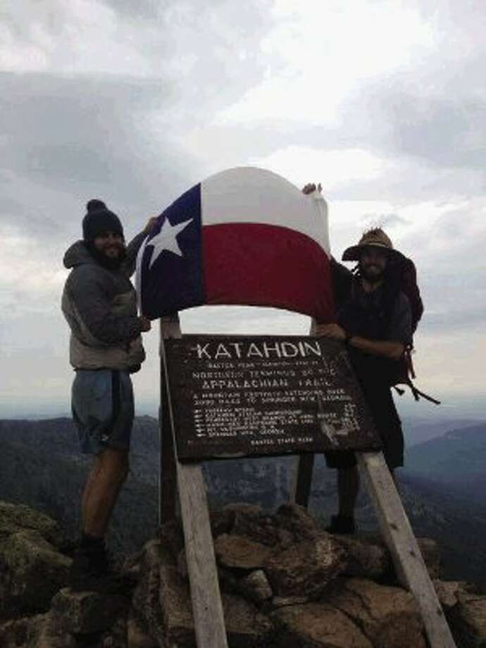 Andrew Hammond, left, a 2007 graduate of The Woodlands High School, and Ben Blackburn, a 2007 graduate of Oak Ridge High School, recently completed the more than 2,100-mile long Appalachian Trail on July 14.