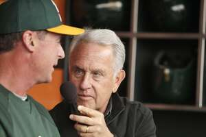 Oakland A's broadcaster Ken Korach interviews A's manager Bob Melvin before the San Francisco Giants played the Oakland Athletics in a pre-season game at AT&T Park in San Francisco, Calif., on Thursday, March 27, 2014. Broadcasters throughout the game are bombarded by countless statistics which dissect a player's success to the finest detail. While some broadcasters use them, others prefer call their games with good old fashioned research done firsthand.