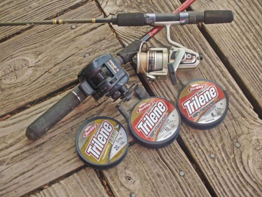 Two of my rod and reel outfits with three of the new Trilene lines introduced at ICAST.