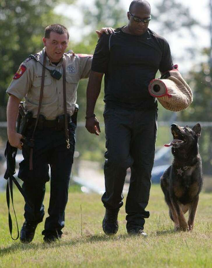 Montgomery County Sheriff's Office Deputy David Everton, left, escorts Lt. Ken Culbreath during a training demonstration with Ranger, a 2-year old German shepherd and the department's newest patrol dog specializing in apprehension, tracking and narcotics detection, Wednesday. / The Courier