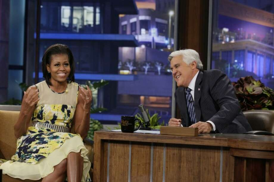 "This Monday photo released by NBC shows first lady Michelle Obama, left, and host Jay Leno during a taping of ""The Tonight Show with Jay Leno,"" in Burbank, Calif. Photo: Margaret Norton"