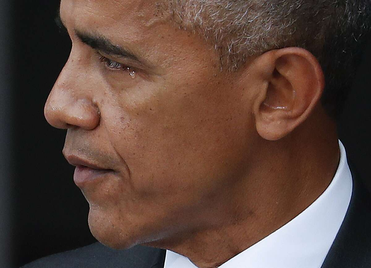 President Barack Obama begins to tear-up while speaking at the dedication ceremony for the Smithsonian Museum of African American History and Culture on the National Mall in Washington, Saturday, Sept. 24, 2016. (AP Photo/Pablo Martinez Monsivais)