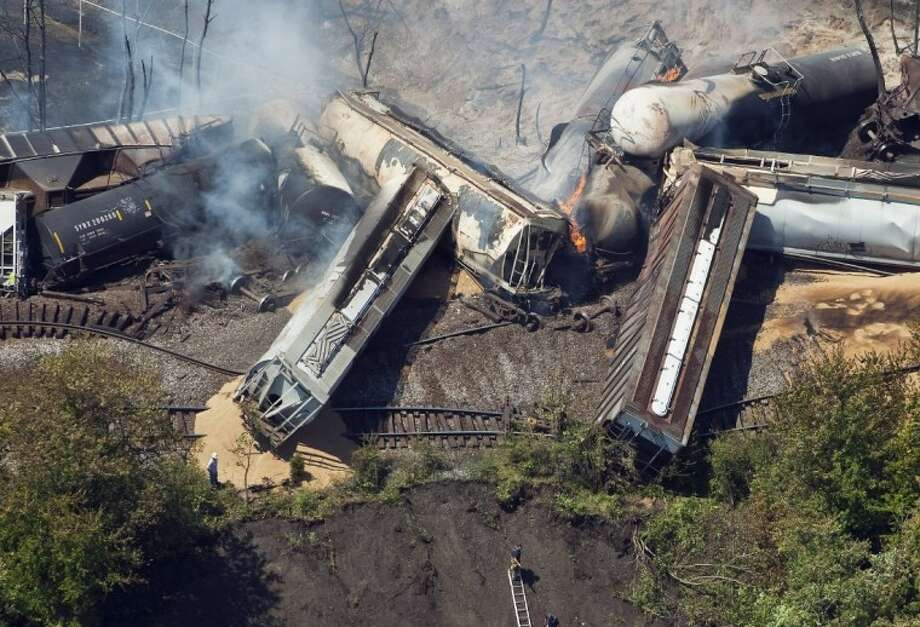 This July 11 aerial file photo shows a freight train after an early morning derailment in Columbus, Ohio. Photo: Eamon Queeney