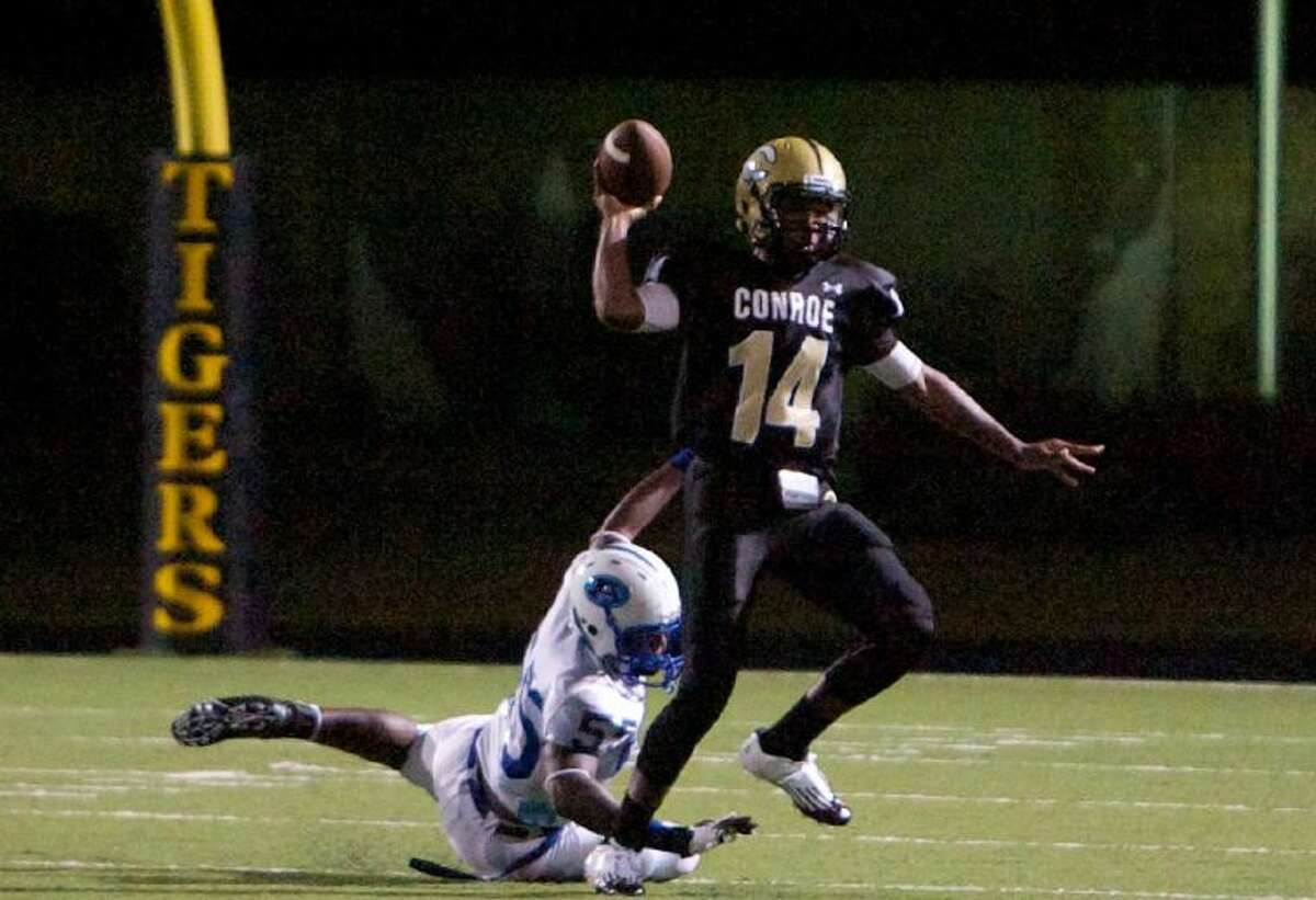 Conroe quarterback Stedman Bell completed 56.6 percent of his passes for 2,140 yards and 10 touchdowns against seven interceptions as a junior last season. He also ran for 464 yards and five touchdowns on 116 carries.