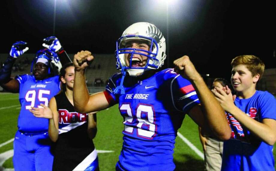 Oak Ridge kicker Patrick Coale celebrates after his 43-yard field goal gave the War Eagles a 45-42 win in double overtime against Stratford Friday. Go to HCNPics.com to view and purchase this photo, and others like it. Photo: Staff Photo By Jason Fochtman