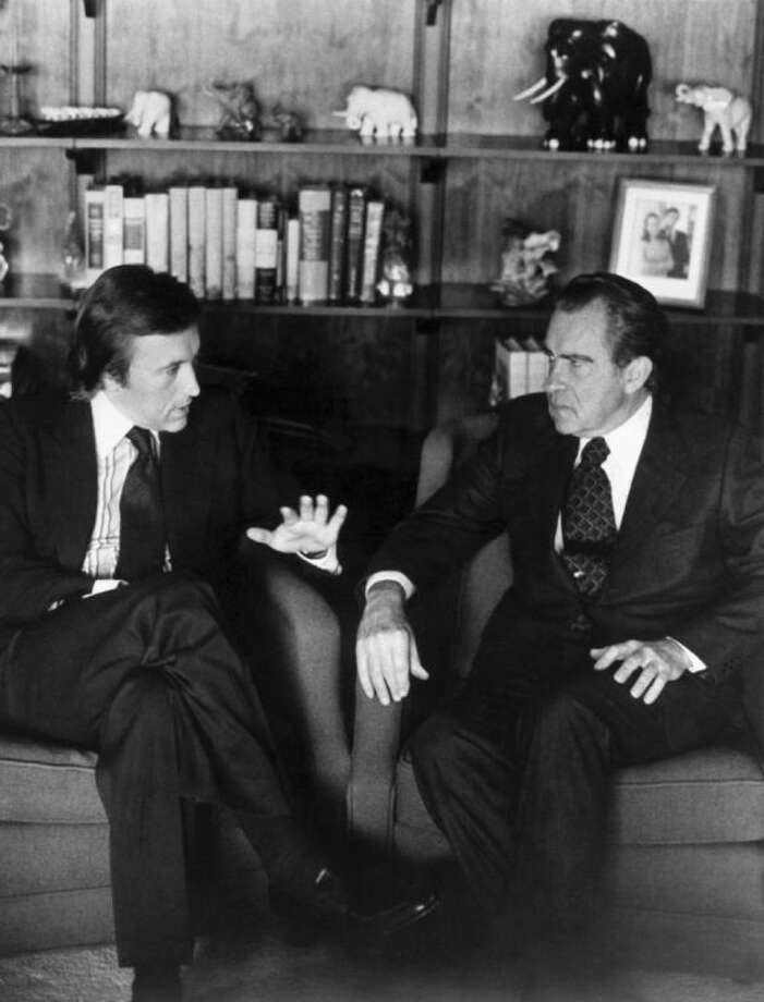 David Frost, left, talks with former President Richard Nixon in this March 1977 b/w file photo prior to the taping of his interview with the former President. Veteran broadcaster David Frost, who won fame around the world for his interview with former President Richard Nixon, has died, his family told the BBC. He was 74. Frost died of a heart attack on Saturday night aboard the Queen Elizabeth cruise ship, where he was due to give a speech, the family said. The cruise company Cunard says its vessel had left the English port of Southampton on Saturday for a 10-day cruise in the Mediterranean