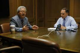 San Francisco Mayor Ed Lee (left) speaks with the San Francisco Chronicle editorial board including editorial page editor John Diaz (right) at the Chronicle's offices in San Francisco, California, on Wednesday, Sept. 23, 2015.
