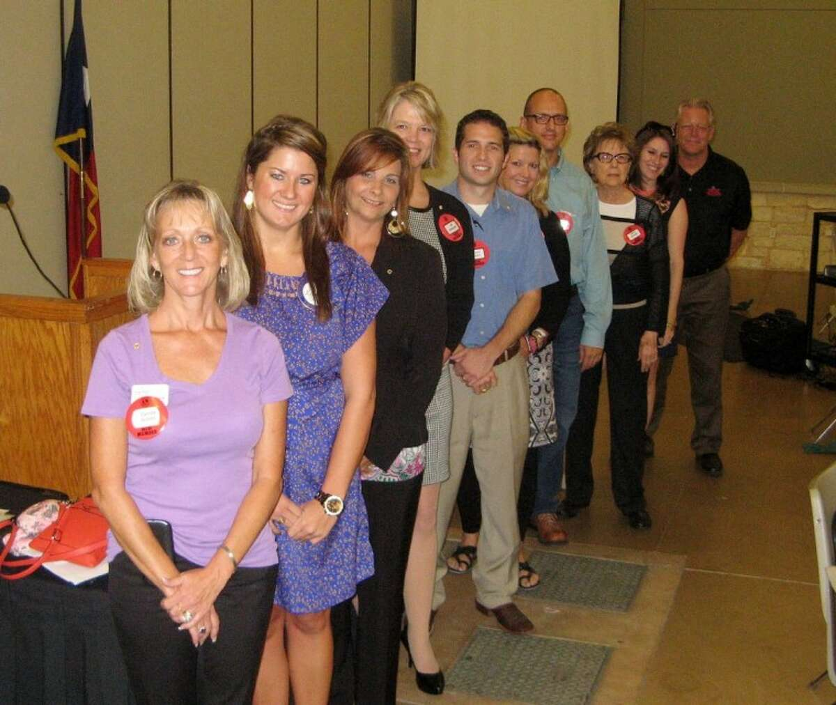 The Conroe Noon Lions Club recently inducted 16 new members. Pictured (front to back) are Cecilia Scholz, Kelley Ringo, Robin Hoy, Jill Driscoll, Patrick Hebert, Phyllis Clary, Erich Shaffer, Aline Arnold, Ashley Norman and Wayne Colby.