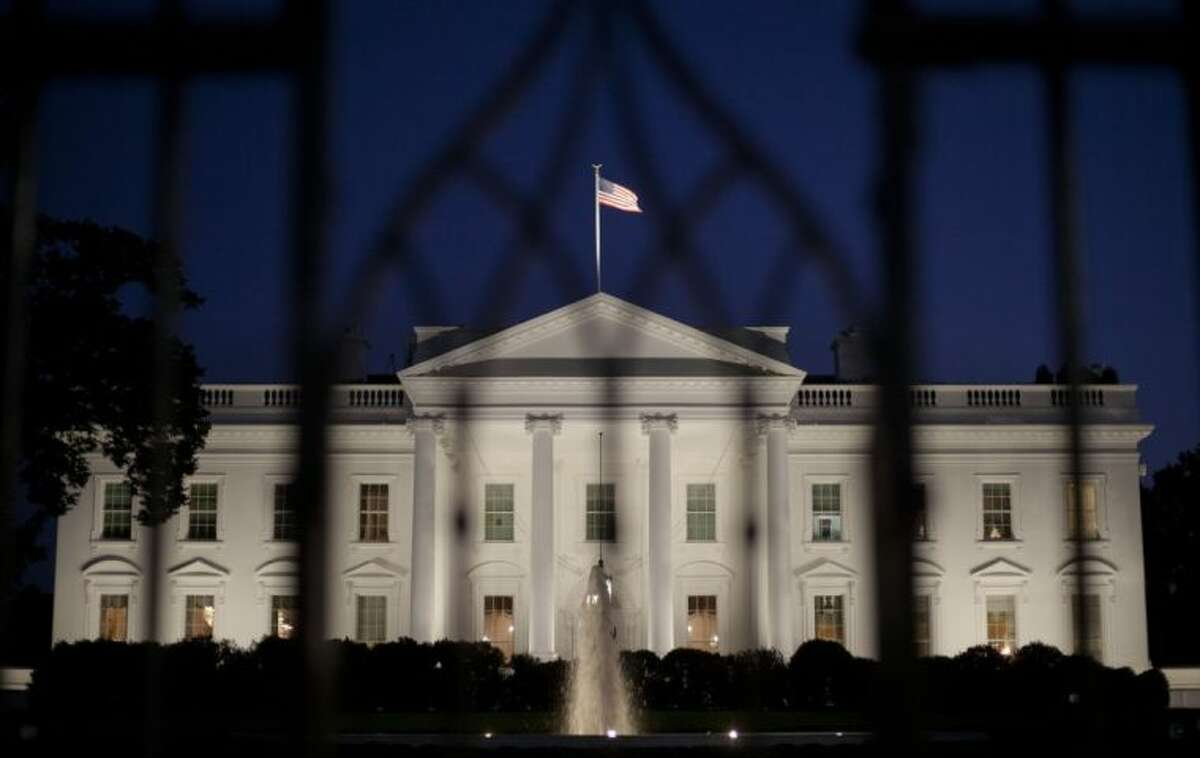 The White House in Washington at night.