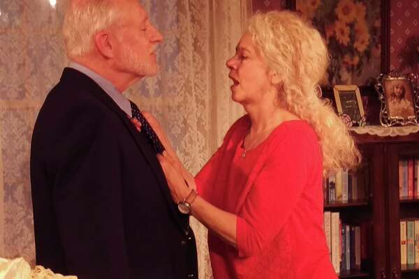 """Ron Komora and Nancy Rothman in """"Southern Comforts"""" at The Lake Theatre. (Lake Theatre publicity photo)"""