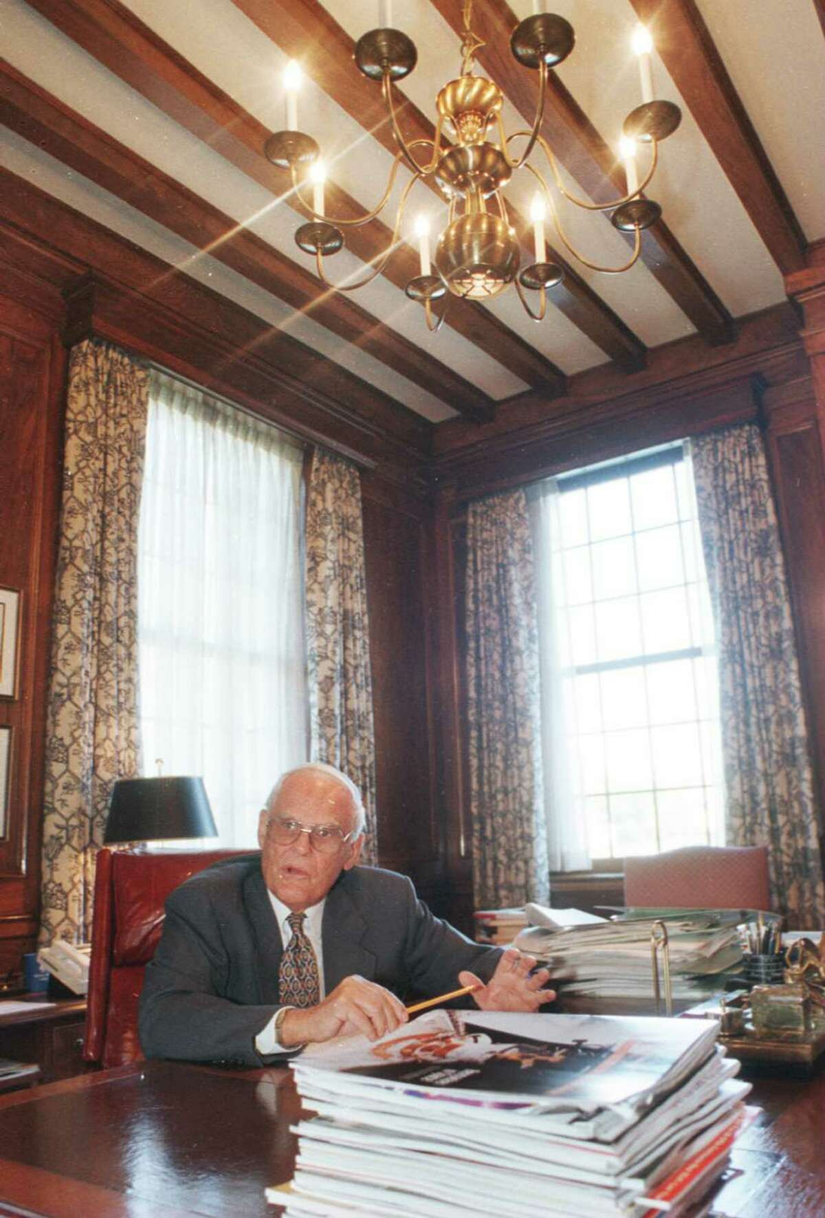 J. Spencer Standish, in 1996, in his office at Albany International, where he was chairman. (Times Union Archive)