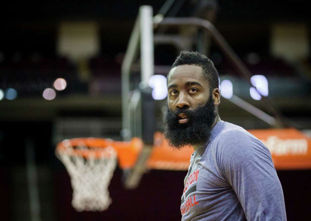 Rockets guard James Harden prepares for the new basketball season at the Toyota Center during the Rockets first day of practice, Saturday, Sept. 24, 2016, in Houston.