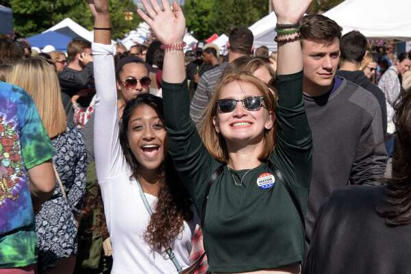 UAlbany student Asma Arroon, left, and her best friend from home Paige Shields of Poughkeepsie take in the sights during the 35th Annual LarkFest, New YorkOs largest one-day street festival, Saturday Sept. 24, 2016 in Albany, NY.  (John Carl D'Annibale / Times Union)