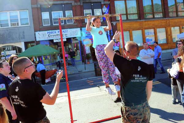 The Harvest Festival in downtown Ansonia, Conn., on Saturday Sept. 23, 2016. Some of the other attractions included a batting cage, an antique fire engine, a visit by Harvey the festival mascot as well as arts and craft and food.