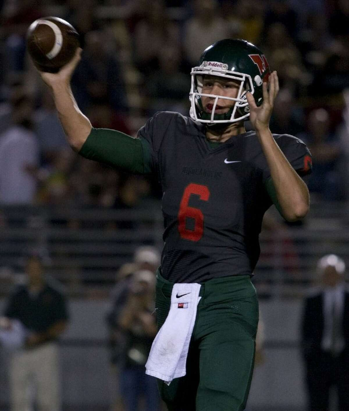 Quarterback Blaine Gillespie and The Woodlands face Round Rock Westwood in the Class 5A Division I playoffs in Waco today.