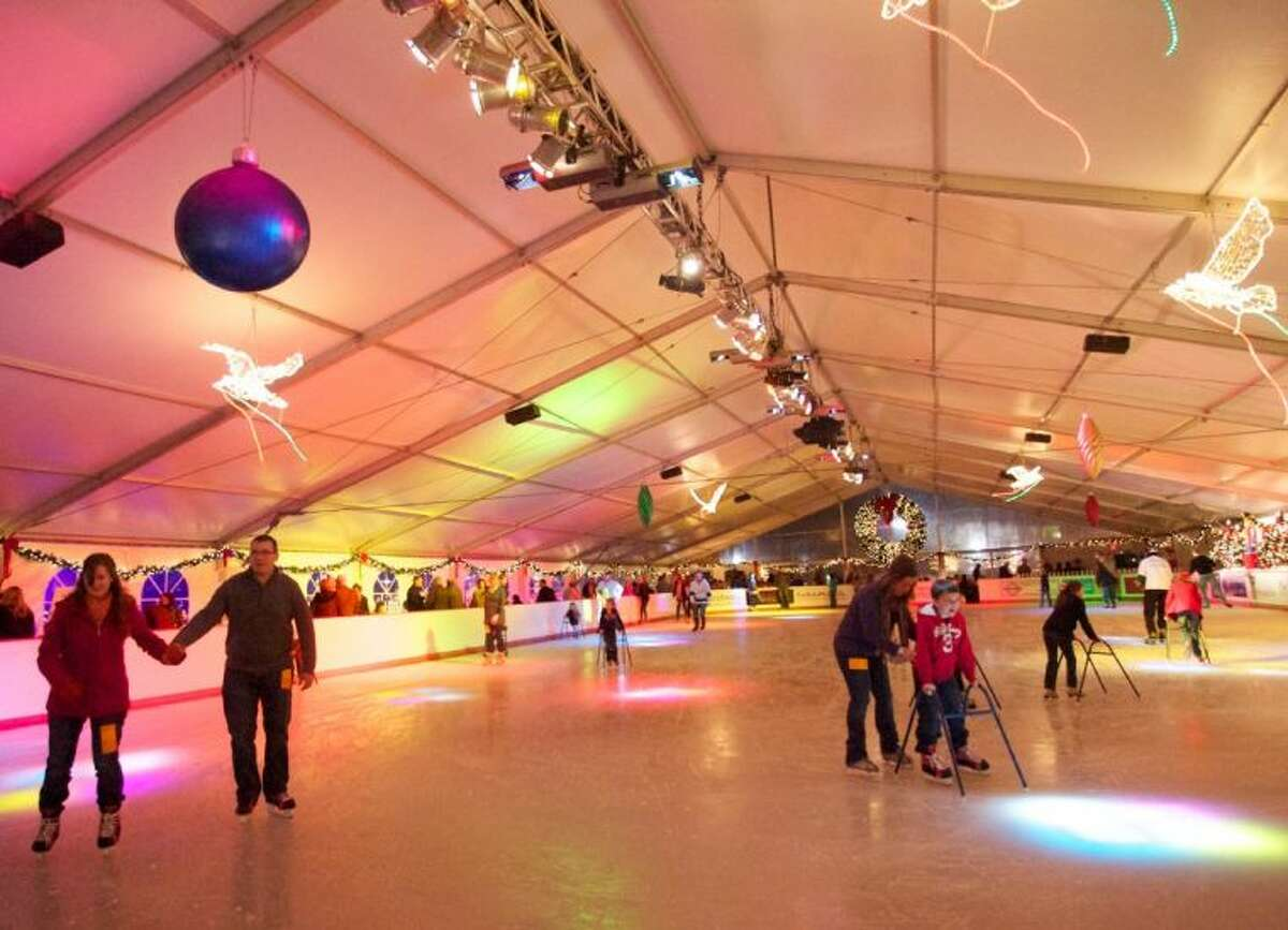 Skaters enjoy a preview night at The Woodlands Ice Rink. A preview weekend is Nov. 16-17 with the rink opening daily on Nov. 23 through Jan. 20.