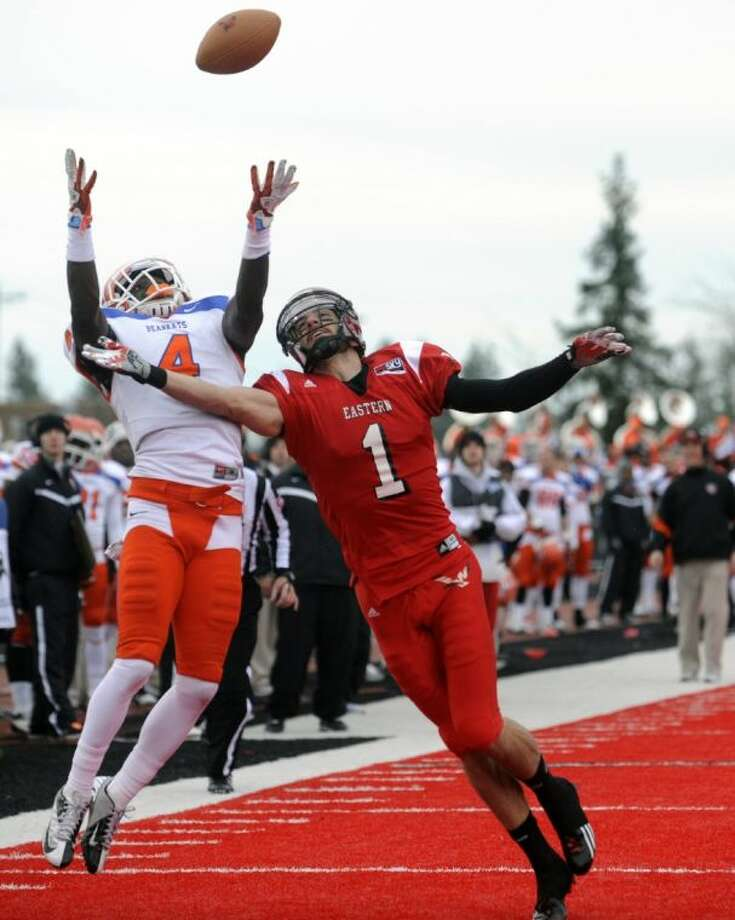 Sam Houston State cornerback Bookie Sneed breaks up a pass for Eastern Washington receiver Brandon Kaufman during the first half of an FCS semifinal playoff game on Dec. 15, 2012, in Cheney, Wash. The Bearkats won, 45-42. Photo: Tyler Tjomsland