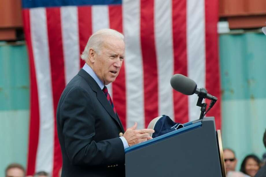 Vice President Joe Biden spoke to dozens of political and business leaders about the widening of the Panama Canal and the impact on the Port of Houston at the Bayport Terminal in Pasadena on Monday (Nov. 18). Photo: KIRK SIDES