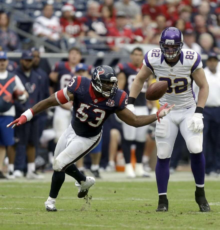 Linebacker Bradie James (53) and the Houston Texans get another chance to secure home-field advantage for the AFC playoffs on Sunday when they face playoff-bound Indianapolis on Sunday. Photo: Patric Schneider