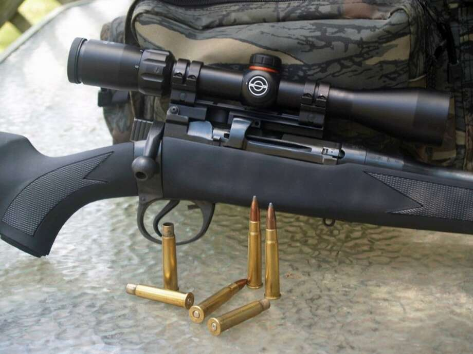 This .30 caliber rifle weighs 9 pounds and shoots the pictured 150 grain bullets at 2,600 fps. It is also comfortable to shoot.