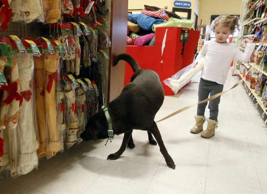 Duke sniffs out some Black Friday deals at a Dallas PetSmart store Friday. Most of the company's U.S. stores opened at 7 a.m. and offered deep discounts on thousands of items. Photo: Richard W. Rodriguez