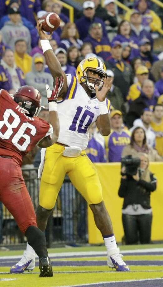 LSU's Anthony Jennings rallied the Tigers to a 31-27 victory over Arkansas on Friday. Photo: Bill Haber