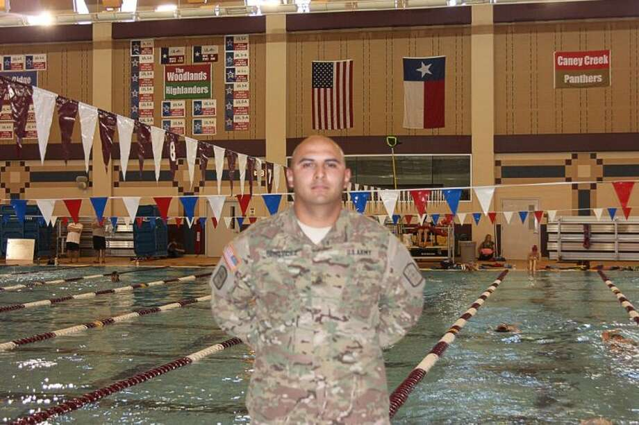 """Sgt. Jesus """"Jesse"""" Benavidez recently returned after a year serving the country as part of the U.S. Army Reserves. Benavidez is the assistant natatorium coordinator for Conroe ISD."""