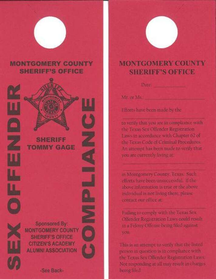 This is an example of the bright-red door hanger the Sex Offender Compliance Unit of the Montgomery County Sheriff's Office is using when a deputy visits a home and the offender is not there. The hangers were donated by the Montgomery County Sheriff's Office Citizen's Academy Alumni Association.