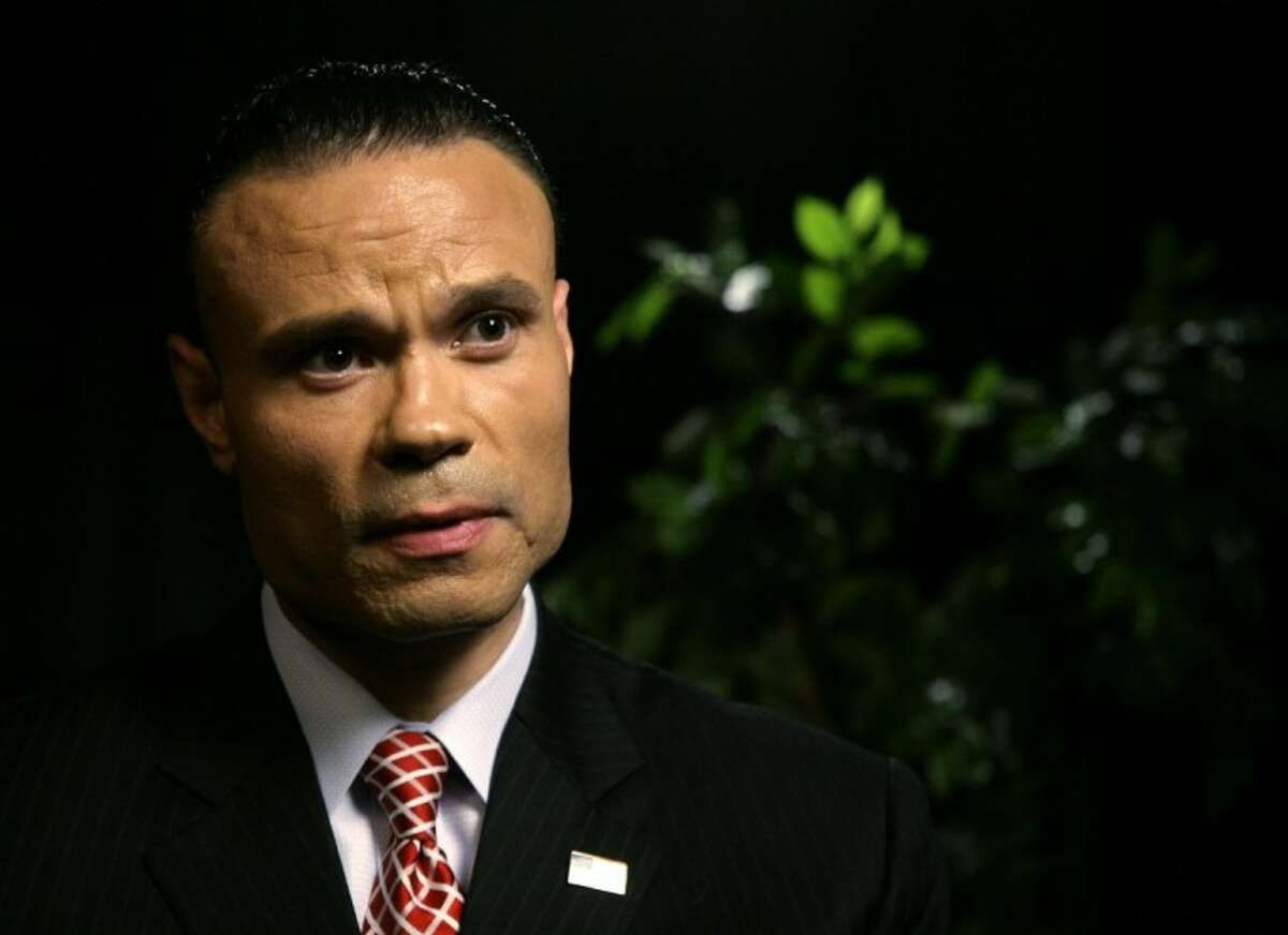 FILE: Dan Bongino, a former Secret Service agent and U.S. Senate candidate in Maryland, speaks during an interview at the Associated Press in New York. He regularly does radio appearances for Cumulus stations.