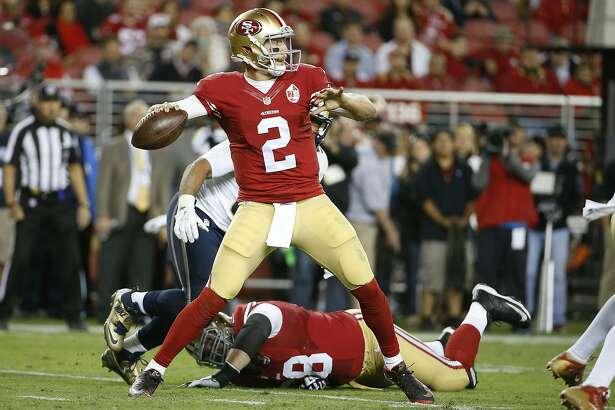 San Francisco 49ers quarterback Blaine Gabbert (2) passes against the Los Angeles Rams during the first half of an NFL football game in Santa Clara, Calif., Monday, Sept. 12, 2016. (AP Photo/Tony Avelar)