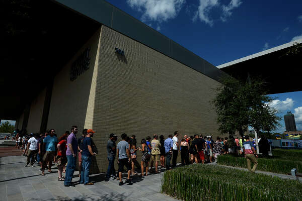 A line of people wait to get into the Beaumont Craft Beer Festival at The Event Centre on Saturday afternoon.  Photo taken Saturday 9/24/16 Ryan Pelham/The Enterprise