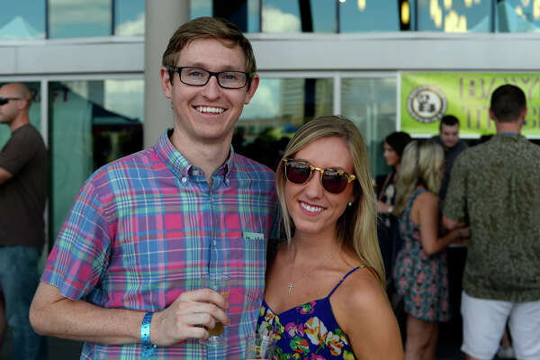 Patrick White and Caitlyn Matlak during the Beaumont Craft Beer Festival at The Event Centre on Saturday afternoon.  Photo taken Saturday 9/24/16 Ryan Pelham/The Enterprise