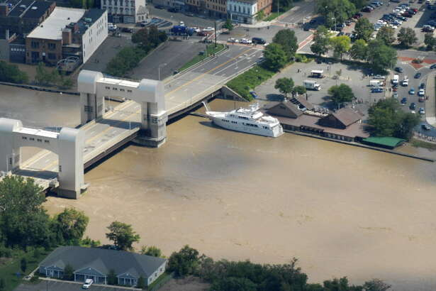 Aerial view of the Hudson River in Troy showing flooding following Tropical Storm Irene on Monday, Aug. 29, 2011, in Troy N.Y. Heavy rains from Tropical Storm Irene swelled area rivers and creeks beyond capacity.  (Will Waldron/Times Union)