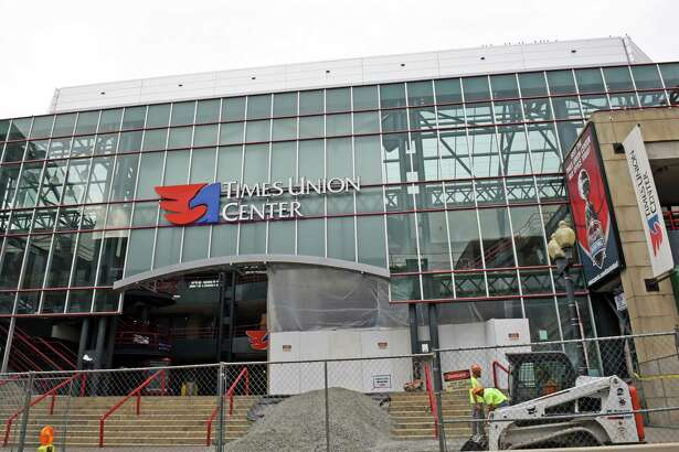 Construction on a new atrium and walkway is underway at the Times Union Center on Friday Sept. 23, 2016 in Albany, N.Y. (Michael P. Farrell/Times Union)
