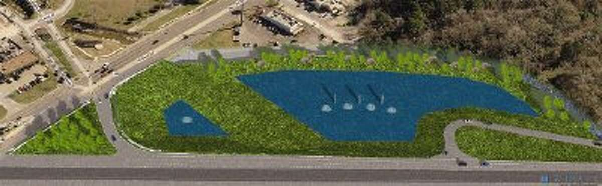 This artist's rendering gives an overview as to how the retention ponds will look when finished.