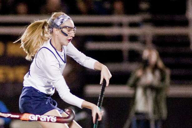FILE PHOTO: Immaculate High School's Caroline Wax recieves a pass during the SWC field hockey semifinals against Bethel High School, played at Joel Barlow High School. Monday, Nov. 2, 2015
