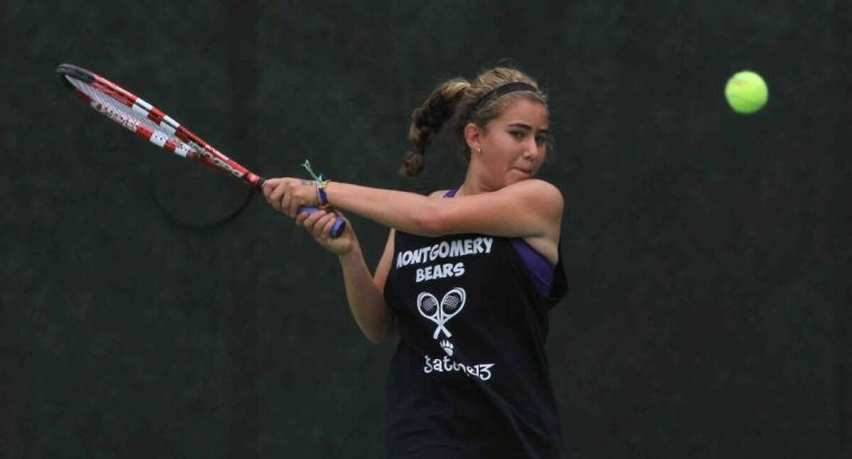 Montgomery's Valerie Ruiz competes in the Class 4A girls singles quarterfinals of the UIL state tournament. Dallas Highland Park's Elizabeth Porter defeated Ruiz 6-0, 6-2. Go to HCNPics.com to view and purchase this photo, and others like it.