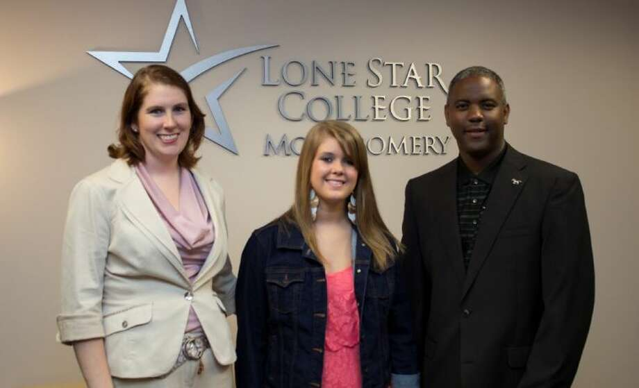Student Katie Langston (center) is the recipient of Alden Bridge Village Association's inaugural scholarship program for LSC-Montgomery students. Melanie Bush, ABVA treasurer, (left) will serve as Langston's mentor, and Dr. Austin Lane, president of LSC-Montgomery, is pictured with them.