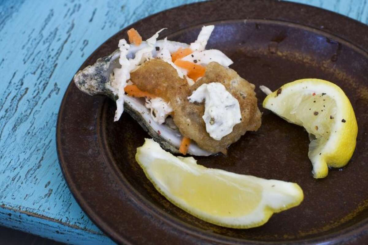 Pictured in this photo is a 'Fried' Guinness battered oyster with mustard pickle sauce.