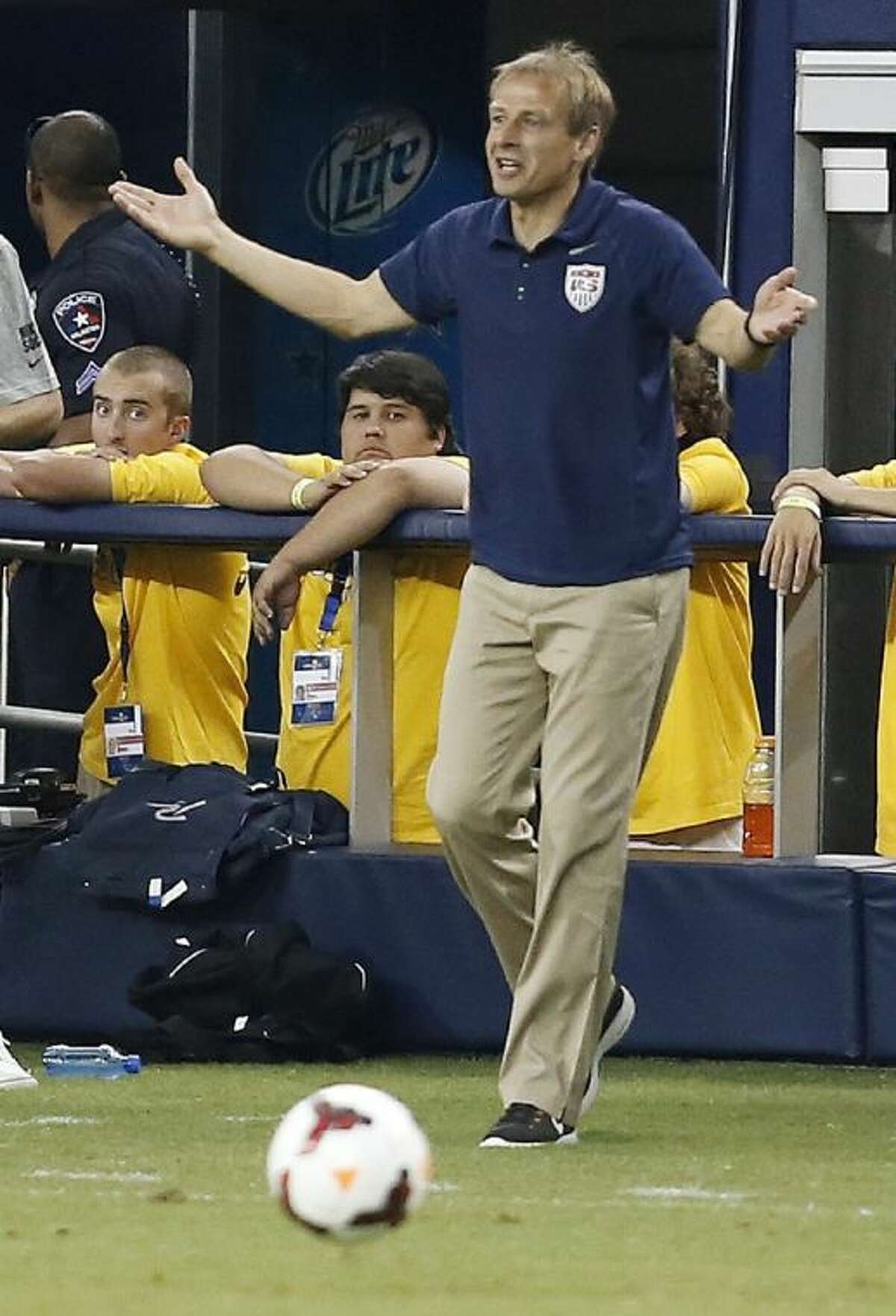 United States manager Jurgen Klinsmann gestures on the sideline during the second half against Honduras in the semifinals of the CONCACAF Gold Cup on Wednesday at Cowboys Stadium in Arlington. The USA won 3-1 to advance to the final against Panama on Sunday in Chicago.
