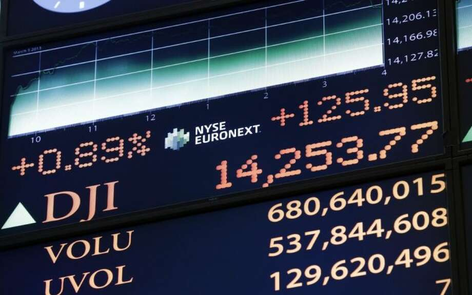A board on the floor of the New York Stock Exchange shows the closing number for the Dow Jones industrial average, Tuesday, March 5, 2013. The Dow is closing at a record, beating the previous high it set in October 2007, before the financial crisis and the Great Recession. Photo: Richard Drew