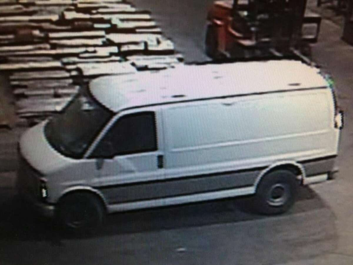 This is one of two vans used by five to six men to steal alloy rods from a Magnolia business.