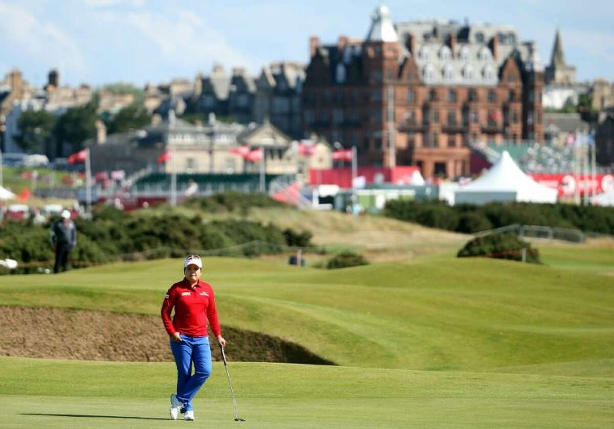 South Korea's Inbee Park waits to play her shot on the 15th green during the second round of the Women's British Open on Friday on St. Andrews' Old Course in St. Andrews, Scotland.