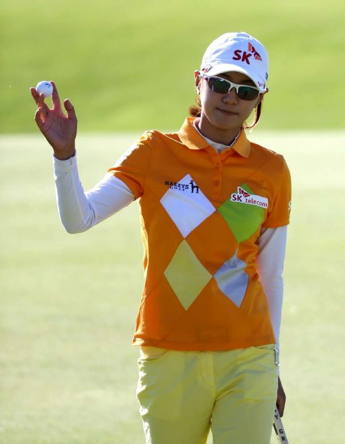 Korea's Na Yeon Choi walks off the 18th green during the second round of the Women's British Open on the Old Course in St. Andrews, Scotland.