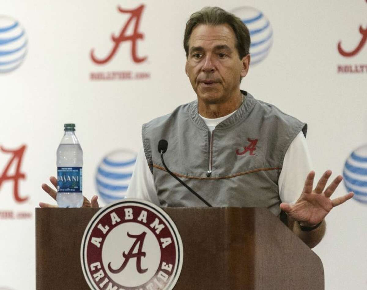 Alabama coach Nick Saban talks to reporters about today's game against Texas A&M.
